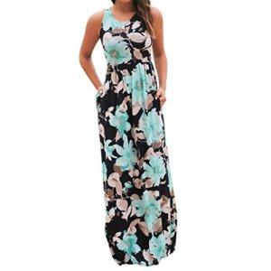 Tonsee Femmes V Neck Boho Long Maxi soirée Beach Party Robe florale Sundress (XL, Bleu2)