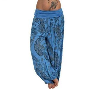 topxingch Pantalons De Yoga Pour Femmes, Vêtements De Yoga, Leggings De Yoga, Vêtements De Sport, Pantalons Longs, Pantalons Amples Bleu M