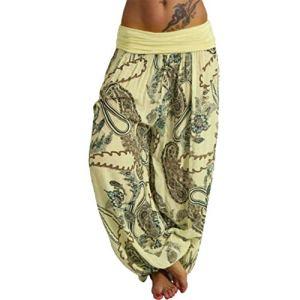 topxingch Pantalons De Yoga Pour Femmes, Vêtements De Yoga, Leggings De Yoga, Vêtements De Sport, Pantalons Longs, Pantalons Amples Jaune XXL