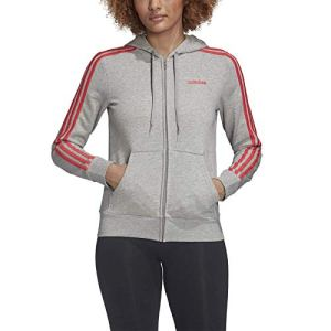 adidas W E 3S FZ HD Sweat-Shirt Femme Medium Grey Heather/Core Pink FR: L (Taille Fabricant: L)