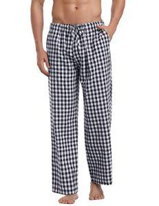 Aibou Unisexe Bas de pyjama Femme 100% Coton Vêtements de nuit à Carreaux homme Pantalon Lounge Pyjama (X-Large, Noir)