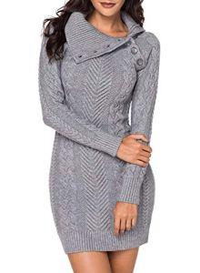 Aleumdr Automne-Hiver Robe Pull Femme Tricoté à Col Revers Bouton Robe Mi-Longue Chandail Pull Chaud – M – Gris