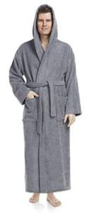 Astra peignoir de bain pour femme/homme à capuche, 100% coton en tissu éponge, longueur moyenne (L/XL, Gris)