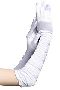 BABEYOND Gant de Soirée Femme Gant Long Satin Gant Mariage Satin Accessoire de Robe Année 1920 Style Classique pour Mariage Soirée Opéra Taille Élastique 52/54cm (Plié Blanc 52cm)