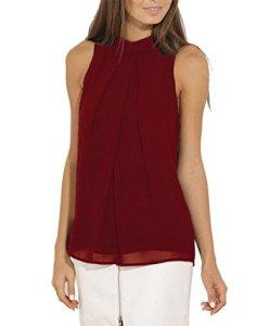 Bigood Top Sans Manche Femme T-shirt Chemise Blouse Mousseline de Soie Col Rond Chemisier Bordeau Bust 100cm