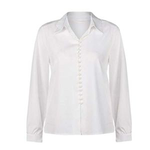 Bonjouree Chemisiers Femme Blanc Chic Tops Manches Longues (XL, Blanc B)