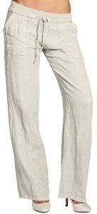 CASPAR KHS025 Pantalon en lin effet amincissant femme, Couleur:beige;Taille:40 L UK12 US10