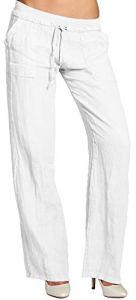 CASPAR KHS025 Pantalon en lin effet amincissant femme, Couleur:blanc;Taille:38 M UK10 US8