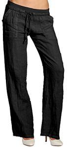 CASPAR KHS025 Pantalon en lin effet amincissant femme, Couleur:noir;Taille:36 S UK8 US6