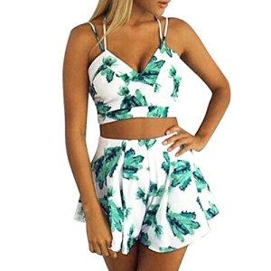 Chouette Femme Casual Combinaison Jumpsuit Floral Imprimé Ensemble 2 Pièces Crop Tops Court avec Short Romper sans Manches Bodysuit Eté