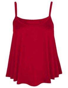 Débardeur uni à bretelles fines pour femme Style décontracté – rouge –