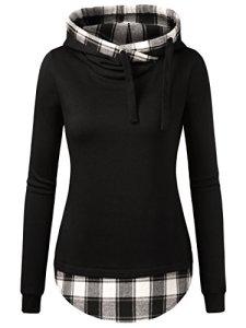 DJT Femme Sweat-shirt longue A Capuche 2 en 1 a Carreaux Tunique Noir-Blanc XL