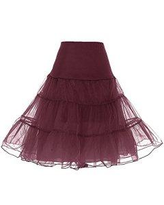 Dresstells Jupon années 50 vintage en tulle Rockabilly Petticoat longueur 66cm/26″,Burgundy XL