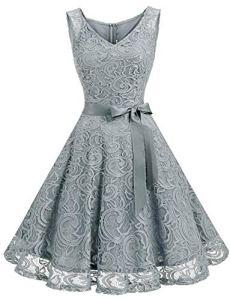 Dressystar DS0010 Robe femme soirée/demoiselle d'honneur/bal Col en V sans manches dentelle avec une ceinture Gris M