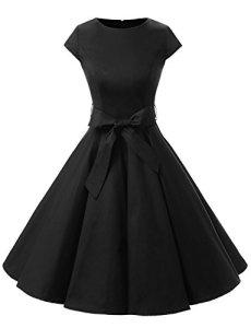 Dressystar DS1956 Robe à 'Audrey Hepburn' Classique Vintage 50's 60's Style à mancheron Noir S