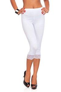 futuro fashion court 3/4 longueur Leggings coton avec dentelle tous coloris & TOUTES LES TAILLES – Blanc, EU 48/50