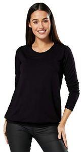 HAPPY MAMA. Femme Top Maternité d'allaitement T-Shirt Désign en Couches. 005p (Noir, 38-40, M)