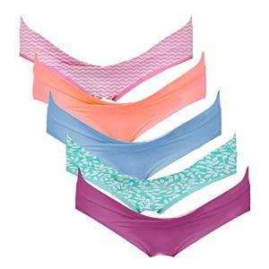Intimate Portal Femme Slips Brésiliens de Maternité Culottes de Grossesse sous-vêtements en Coton 5 Lot Rose Orange Bleu Violet Vert M