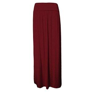 janisramone femmes replient sur jupe maxi taille maillot long, Bordeaux, S/M (UK 8 – 10)
