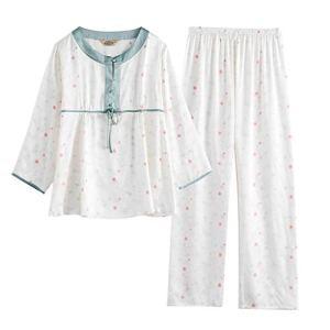 Lady soie deux ensembles de pyjamas l'automne et l'hiver pyjamas à manches longues printemps lâche soie service à domicile ( Color : Blanc , Size : XXL )