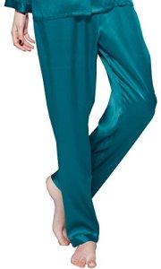 LILYSILK Bas de Pyjama en Pure Soie Femme Pantalon Fluide Soie de Mûrier Pantalon de Pyjama Long Vêtement de Nuit Soin de la Peau 22 Momme Large Bleu Royal