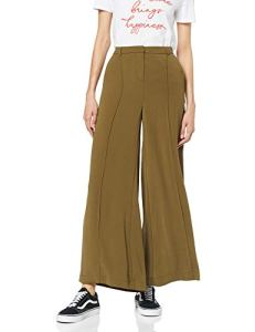 Marque Amazon – find. Pantalon Évasé Femme, Vert (Kaki)), 40, Label: M