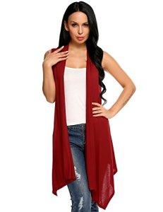 Meaneor Femme Pull Sans Manche Asymétrique Solide Cardigan Tee Shirt Eté Léger XL