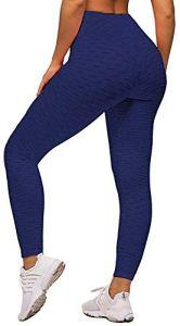 Memoryee Leggings de Compression Anti-Cellulite Slim Fit Butt Lift Elastique Pantalon de yoga taille haute avec poches sport pour femmes/Marine/L