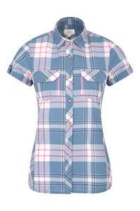 Mountain Warehouse Chemise Holiday pour Femmes – Coton, Haut à Manches Courtes pour Femmes, Chemisier décontracté, léger et Respirant – pour Les Voyages, la Marche Bleu 42