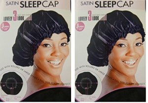 Satin Sleeping Cap, 23 JUMBO XL X-Large BLACK Breathable and Comfortable Material, Elastic Band, Accommodate Large Hair Curlers and Rollers, Keeps Hair Styles in Place and Silky Satin Material to Help to Prevent Hair Breakage – 2 pieces by Patriotic Christian Caps