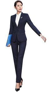 SK Studio Femmes Ensemble Blazer Tailleurs Pantalons De Bureau 2 Pièces Revers Bouton Costume Manteau Bleu 40 étiquette 2XL