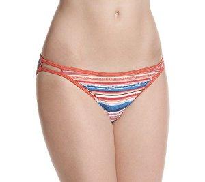 Vanity Fair Illumination Body Shine String Bikini Panty 18108 Bas, Ocean Sunset Print, (36 FR) XL Femme