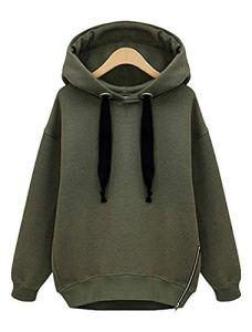 Vertvie Femme Sweat-Shirt à Capuche Lâche Fleece Blouse Hoodie Tops Casual Uni Automne Printemps (M, Vert Armé)