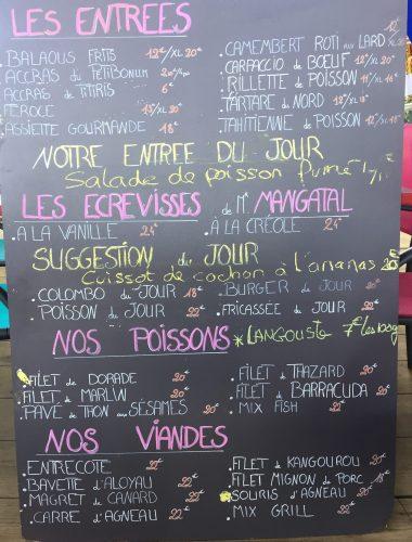 Le Petibonum Le Carbet Martinique Restaurant Bar de plage privée carte menu