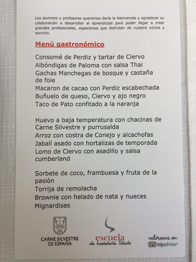 Ecole Hoteliere Tolede Espagne Miss Ségo Gastronomie Gibier viande sauvage Europe