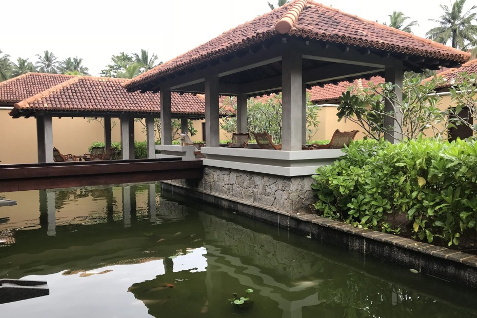 Koi pond and outdoor sitting pavilion at Anantara Kalutara Spa