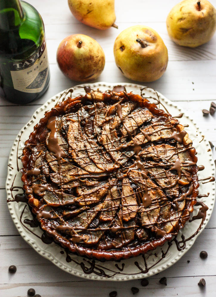 Port Wine Poached Pear & Chocolate Pie