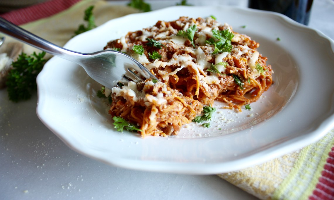 Pasta Bake with Spiralized Sweet Potato