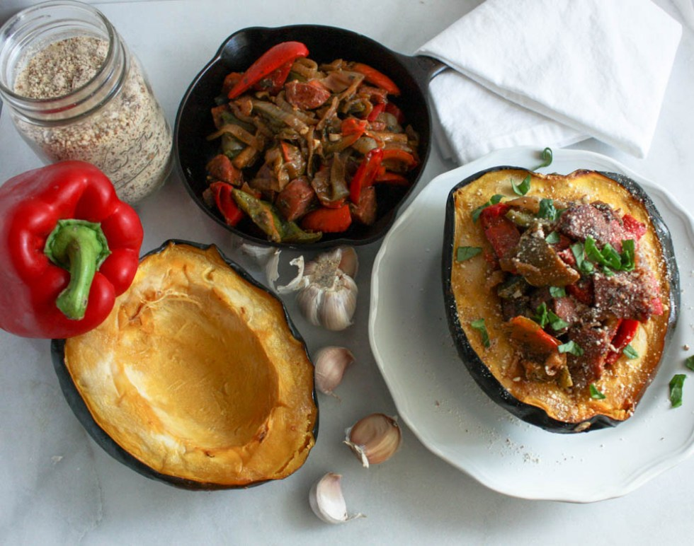 Sausage and Peppers with Roasted Acorn Squash