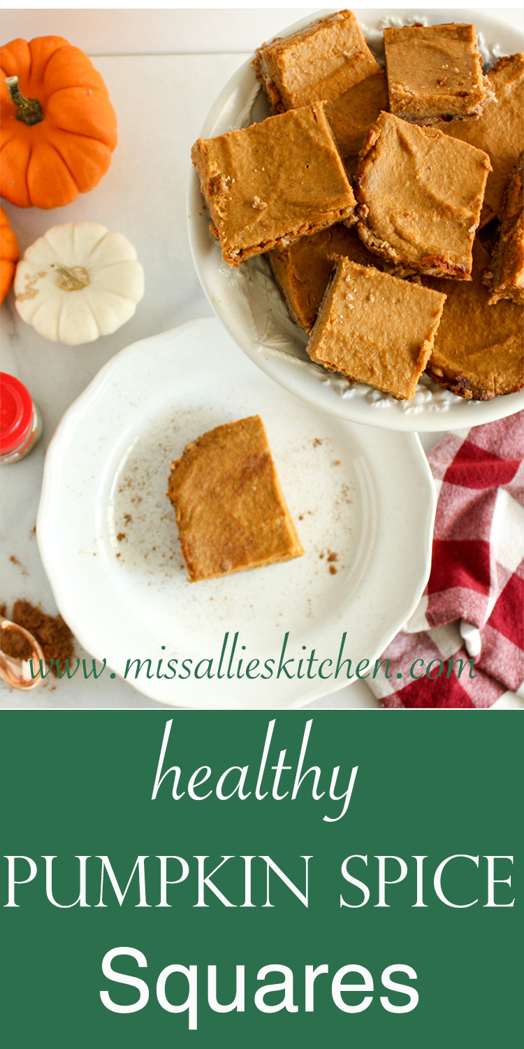 Healthy Pumpkin Spice Squares with Oat-Date Crust! Healthy, filling & packed with pumpkin flavors! Gluten & Refined Sugar Free