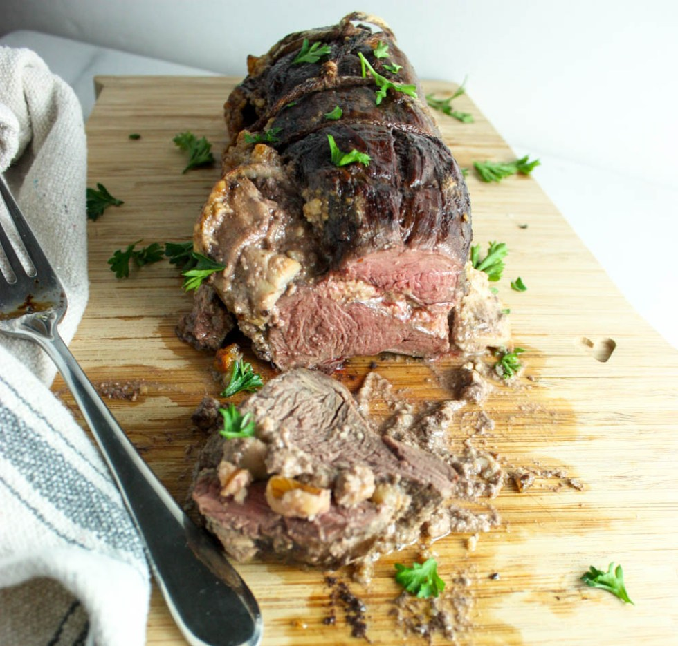 Apple, Walnut, Garlic Stuffed Tenderloin