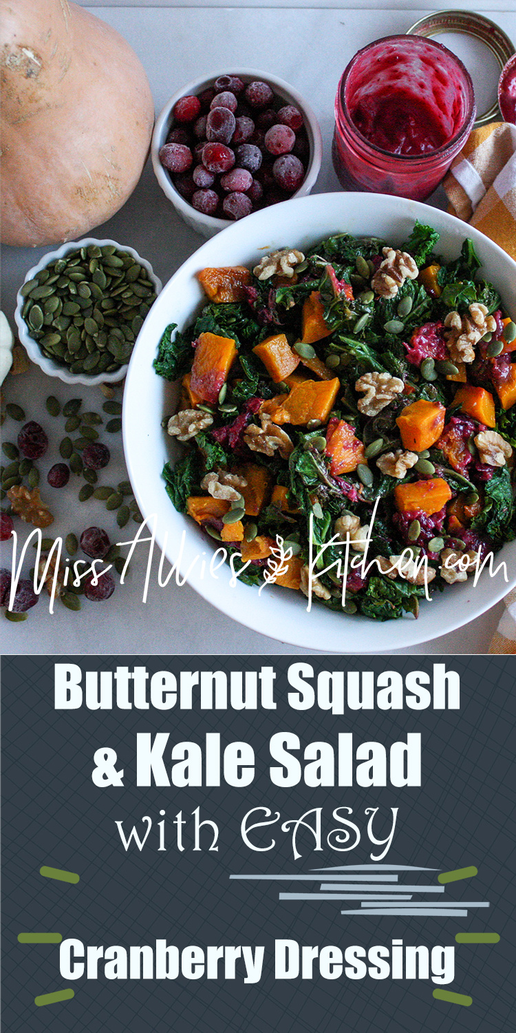 Butternut Squash and Kale Salad with EASY Cranberry Dressing - a flavor packed harvest side using fresh, nourishing and whole ingredients {gluten, grain, dairy and refined sugar free}