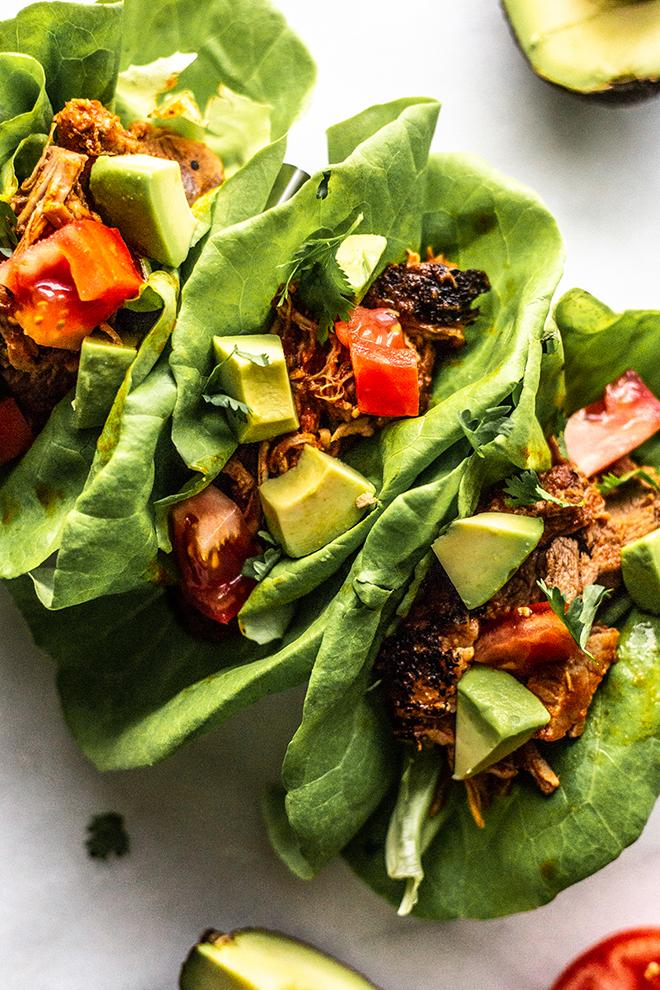 carnitas tacos in lettuce wraps