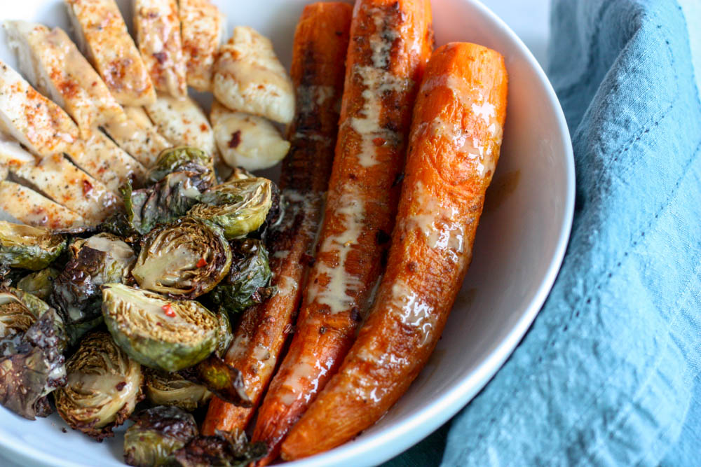 Curried Carrot Power Bowl with Brussels and Chicken