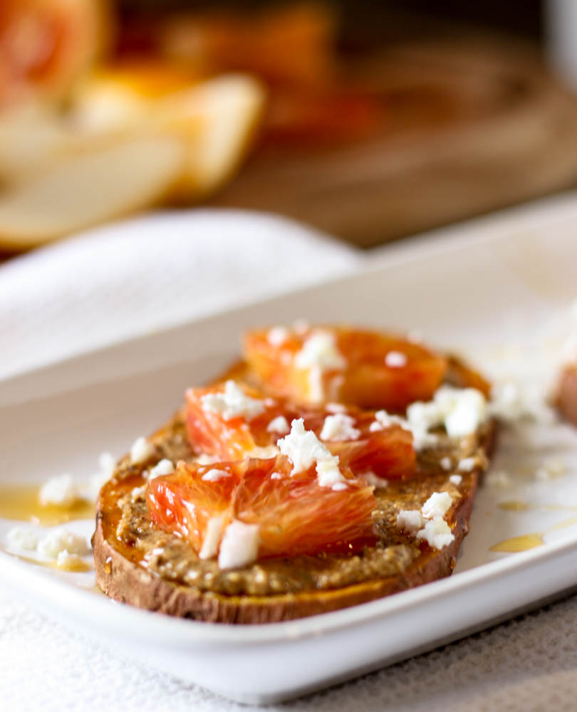 Blood Orange and Goat Cheese Sweet Potato Toast