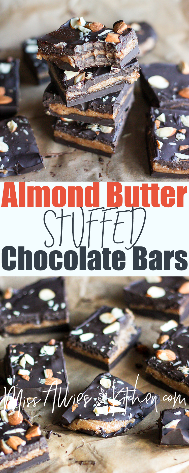 Almond Butter Stuffed Chocolate Bars - with a Paleo option!