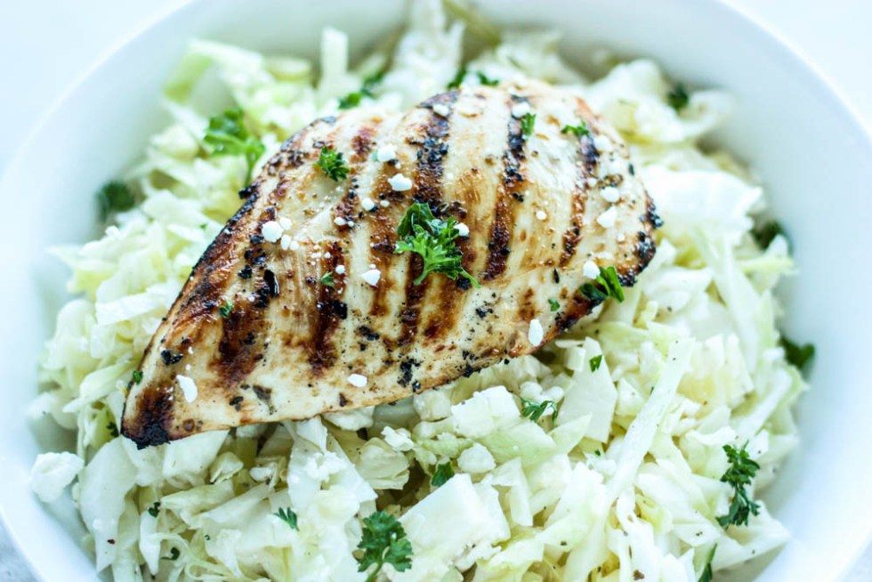 Healthy Grilled Greek Chicken and Easy Cabbage Slaw