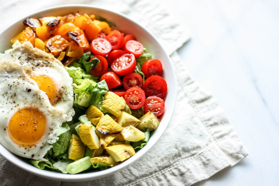 Grilled Veggie and Dippy Egg Salad