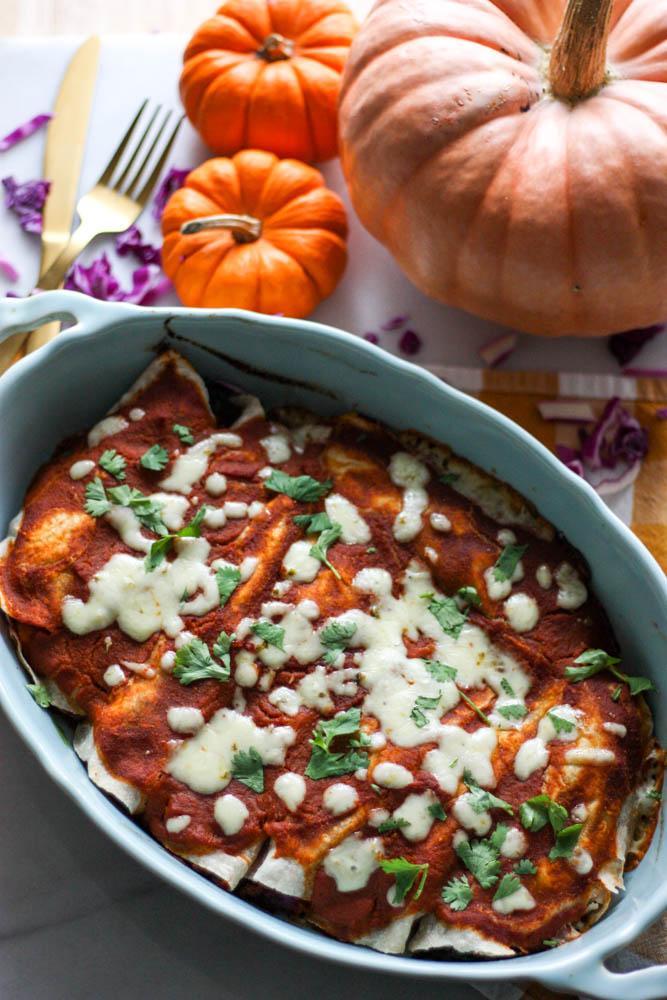Harvest Turkey Enchiladas with Paleo Pumpkin Enchilada Sauce