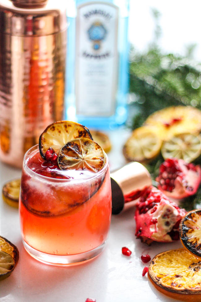 Charred Citrus and Pomegranate Gin and Tonic